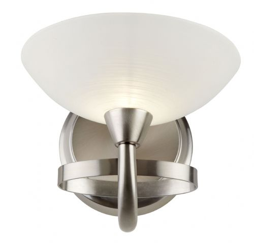 1 Light Wall Bracket In Satin Chrome With Glass Shade CAGNEY-1WBSC